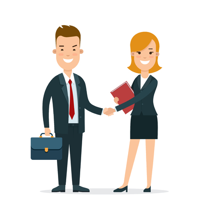 Flat young smiley businesspeople shaking hands vector illustration. Business communications and partnership concept.