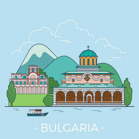 building site: Bulgaria country design template. Linear Flat famous historic sight; cartoon style web site vector illustration. World travel and showplace in Europe, European vacation collection.