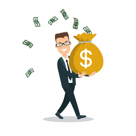 snatch: Flat young smiley businessman carrying full money bag, banknotes flying around vector illustration. Business investments concept. Stock Photo
