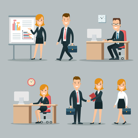 young business man: Flat young smiley businesspeople at meeting and working places vector illustration set. Business working process concept. Man, woman at the table, partners shaking hand, businesswoman making report.