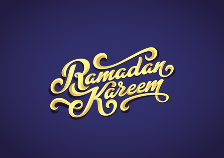 Ramadan Kareem Golden text Vector Lettering greeting card design template.  Vintage retro gold calligraphic typography poster Illustration