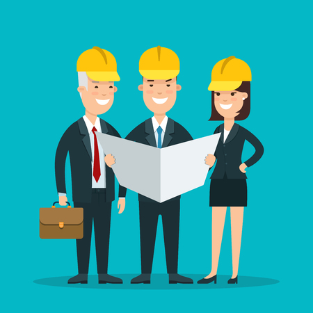 constructing: Flat smiley businesspeople in helmets studying project document vector illustration. Successful Business Constructing teamwork concept.
