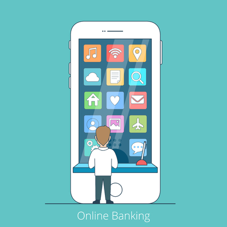 young business man: Linear Flat young man standing facing huge smartphone, web icons and cash window on phone screen vector illustration. Online Banking business concept.