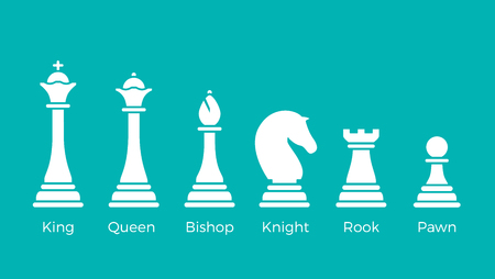White Flat Chess pieces vector illustration on blue background. Logical games concept. King, Queen, Bishop, Knight, Rook, Pawn.