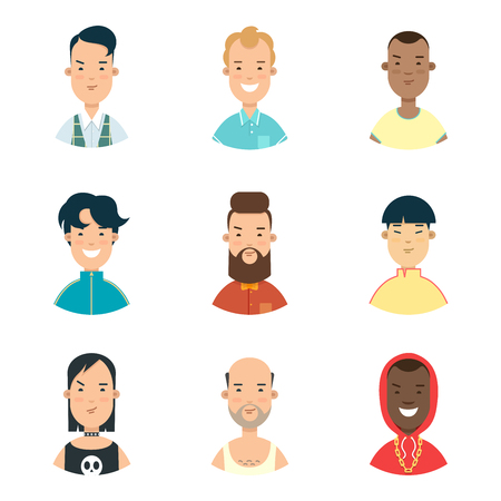 people  male: Flat male Profile avatar, Casual and hipster stylish people faces vector illustration set. Online communication, Social networks concept. Hairstyle evolution.