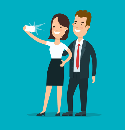 Flat young smiley businesspeople making selfie vector illustration. Business accessibility concept. Illustration