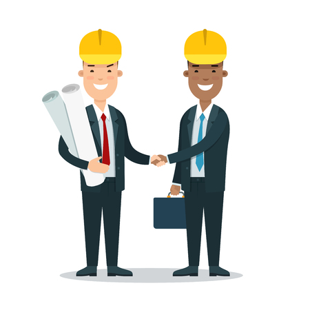 Flat Two smiley businessmen in helmets handshaking vector illustration. Successful Business Constructing concept.