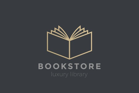 book concept: Open Book Logo design vector template Linear style.  Education, Library, Knowledge, Bookstore Logotype. Read Journal concept icon Illustration