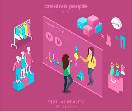 Flat isometric young woman choosing sweeter colour in virtual dressing room vector illustration. 3d isometry Online Shopping concept. Pink store interior with rack, mannequin and touching screen.