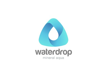 Water drop in triangle abstract Logo design vector template.  Waterdrop Logotype. Aqua Droplet concept icon