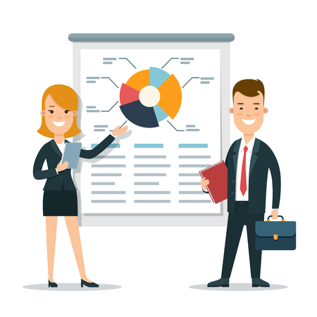 Flat young smiley businesspeople making report or presentation vector illustration. Financial Business Analysis, Audit, Planing concept. Illustration