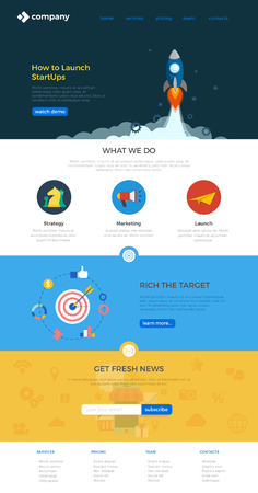 Website Landing page design vector template Flat style.  Webdesign flat with icons.
