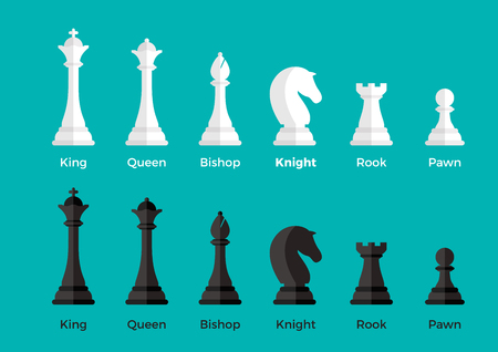 White and Black Flat Chess pieces vector illustration set on blue background. Logical games concept. King, Queen, Bishop, Knight, Rook, Pawn.