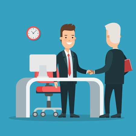 investor: Flat young smiley businessmen handshaking, partners meeting vector illustration. Business Partnership concept. Illustration