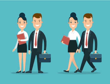 synchronously: Flat Happy young businesspeople standing and walking synchronously vector illustration set. Business Team concept.