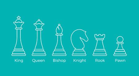 Overzicht schaakstukken vectorillustratie op blauwe achtergrond. Logische spellen concept. King, Queen, Bishop, Knight, Rook, Pawn.