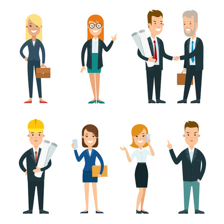 Flat smiley businesspeople standing in different poses vector illustration set. Business working people concept. Partners, secretary, leader, foreman characters.