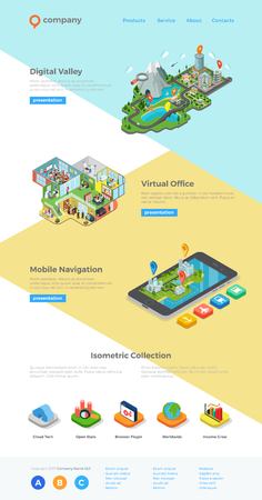 Website Landing page design vector template isometric style.