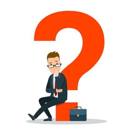 Hombre de negocios joven plano que se sienta en el ejemplo rojo enorme del vector del signo de interrogación. Concepto de tarea empresarial.