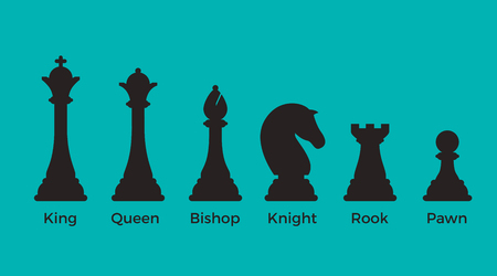 Black Flat Chess pieces vector illustration on blue background. Logical games concept. King, Queen, Bishop, Knight, Rook, Pawn. Illustration