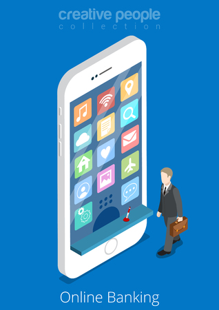 young business man: Flat isometric Flat young man walking to huge smartphone, web icons and cash window on phone screen vector illustration. 3d isometry Online Banking business concept. Illustration