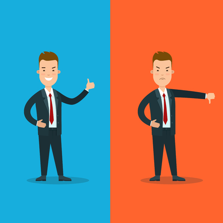 Flat young smiley or angry businessman showing finger up or down vector illustration set. Good or bad Business choice concept.