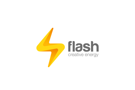 Flash thunderbolt Logo design vector template.  Energy Power Electricity Speed Logotype concept icon.