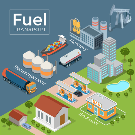 Flat isometric refinery, transport, gas station, end user vector illustration. 3d isometry Fuel Transportation concept. Tanker, tank, auto fuel truck on grey and buildings on green nature background. Illustration