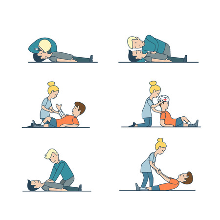 Linear Flat people helping to injured: head and hand bandaging, Indirect cardiac massage, artificial respiration vector illustration set. Emergency first aid concept. Иллюстрация