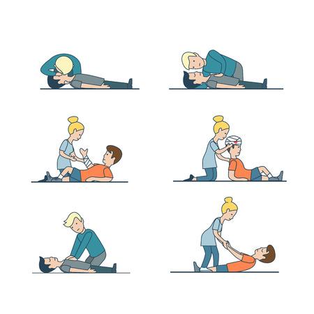 Personnes linéaires plates aidant les blessés: bandage à la tête et à la main, massage cardiaque indirect, jeu d'illustration vectorielle de respiration artificielle. Concept de secourisme d'urgence. Banque d'images - 78532713