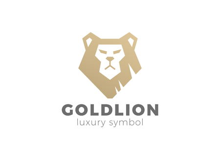 Lion head abstract Logo design vector template.  Financial Business Logotype concept icon. Power Strength symbol.
