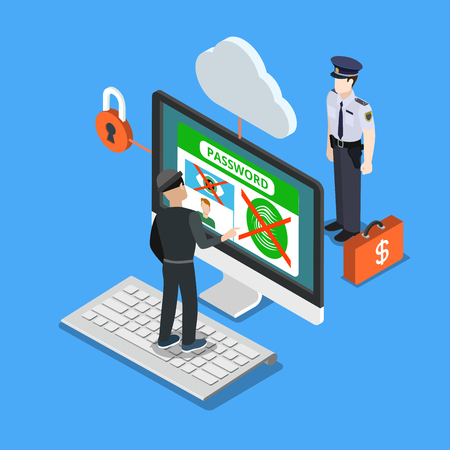 Flat isometric hacker trying enter account with fingerprint and retinal scan, security guard standing behind monitor vector illustration. 3d isometry online Security concept.