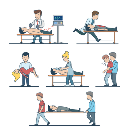 Linear Flat doctors of first-aid helping to injured: Indirect cardiac massage, artificial respiration, man on stretcher vector illustration set. Emergency first aid concept. Illustration