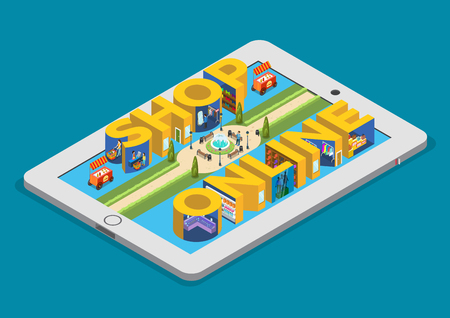 mobile apps: Flat isometric Shop Online letters on tablet screen, Shopping mall interior with lounge vector illustration. 3d isometry E-commerce technology concept. Illustration