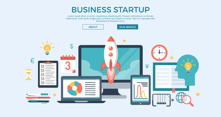 Flat BUSINESS STARTUP infographics template and icons website hero image vector illustration. Successful business concept.