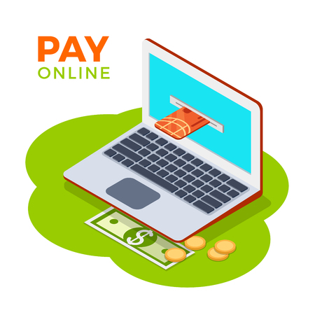 Flat isometric card in laptop screen, money coins and banknote vector illustration. 3d isometry online payment concept. Stock Vector - 78532750