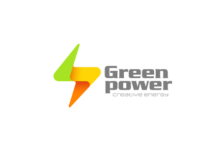 Flash thunderbolt Logo design vector template.  Eco Green Energy Power Electricity Speed Logotype concept icon.