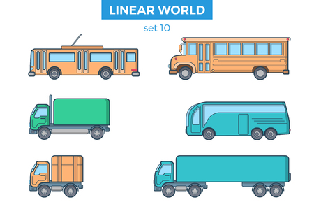 Linear Flat Passenger and cargo transport, modern and retro school bus, van and trolleybus vector illustration set. Transportation concept.