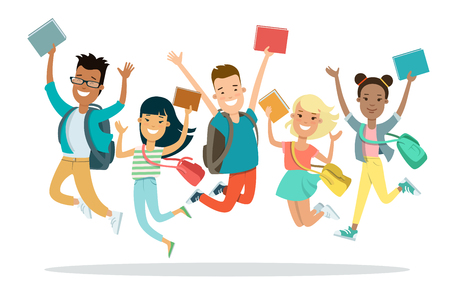 Flat smiley students jumping with backpack and books vector illustration. Education concept.