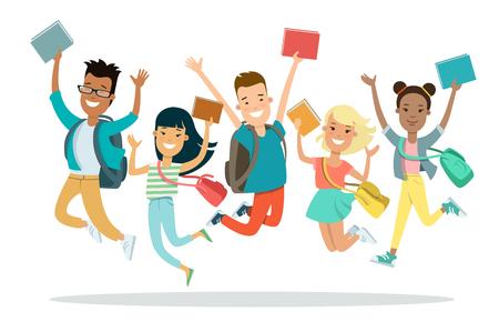 Vlakke smileystudenten die met rugzak en boeken vectorillustratie springen. Onderwijs concept.