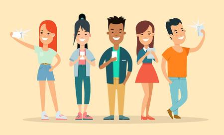 Flat group of smiley casual teens speaking phone, making selfie vector illustration set. Social concept.