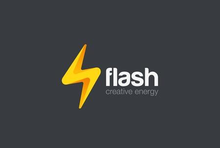 サンダー ボルトのエネルギー電力ロゴ デザイン ベクトル テンプレートをフラッシュします。  電気の速度ロゴタイプ コンセプト アイコン。