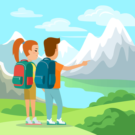 Flat Couple with backpacks enjoying nature mountain view vector illustration. Vacation concept.