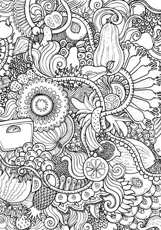Engraving vintage hand drawn vector fruit and vegetable doodle collage. Pencil Sketch food illustration. Illustration
