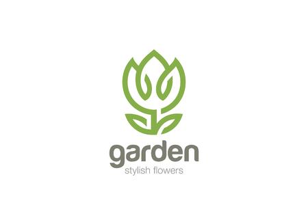 Flower Garden abstract Logo ontwerp vector sjabloon Lineaire stijl. Eco natuurlijke Plant logo concept pictogram Logo