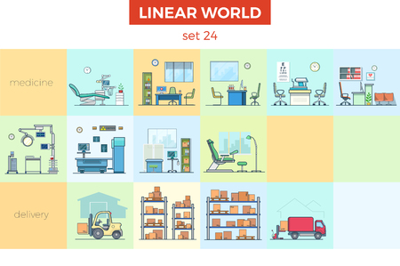 Linear flat Hospital and storage vector illustration set. Medicine and delivery interior concept