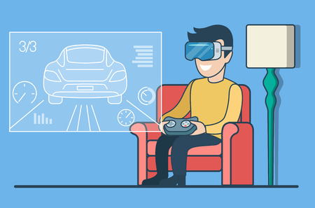 Flat man in Reality VR glasses sitting and playing race game on virtual screen vector illustration. Online gaming concept. Illustration