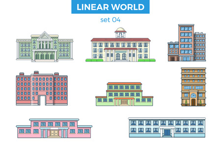Linearer flacher städtischer Gebäudevektor-Illustrationssatz. Stadtarchitekturkonzept. Standard-Bild - 79638317