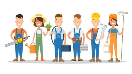 constructing: Flat Building Team vector illustration. Successful Constructing teamwork concept. Illustration
