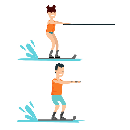 Flat male and female water skiing vector illustration set. Sport and activity concept.